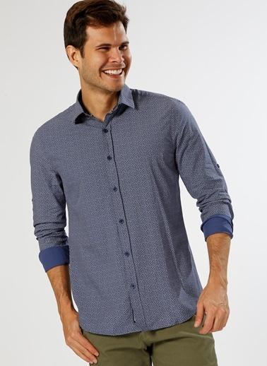 Limon Company Desenli Uzun Kollu Gömlek Lacivert